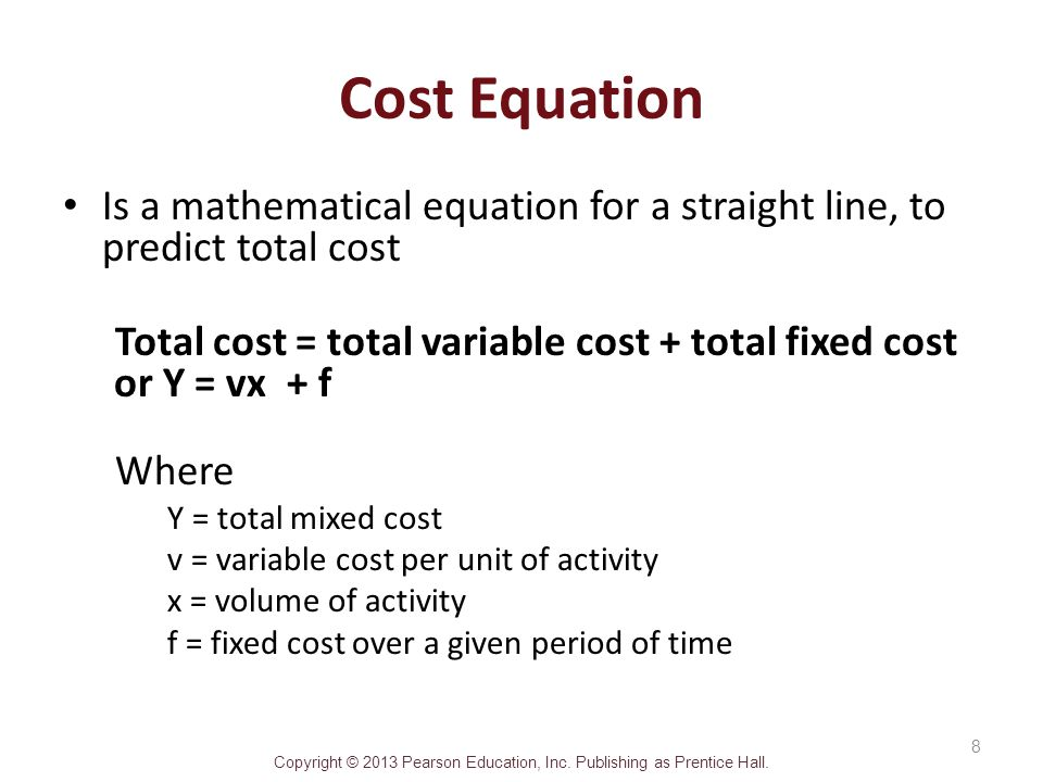 variable cost and product line As the name suggests, a mixed cost is made up of a mix of variable cost and fixed cost a cost must have both components to be considered a mixed cost.