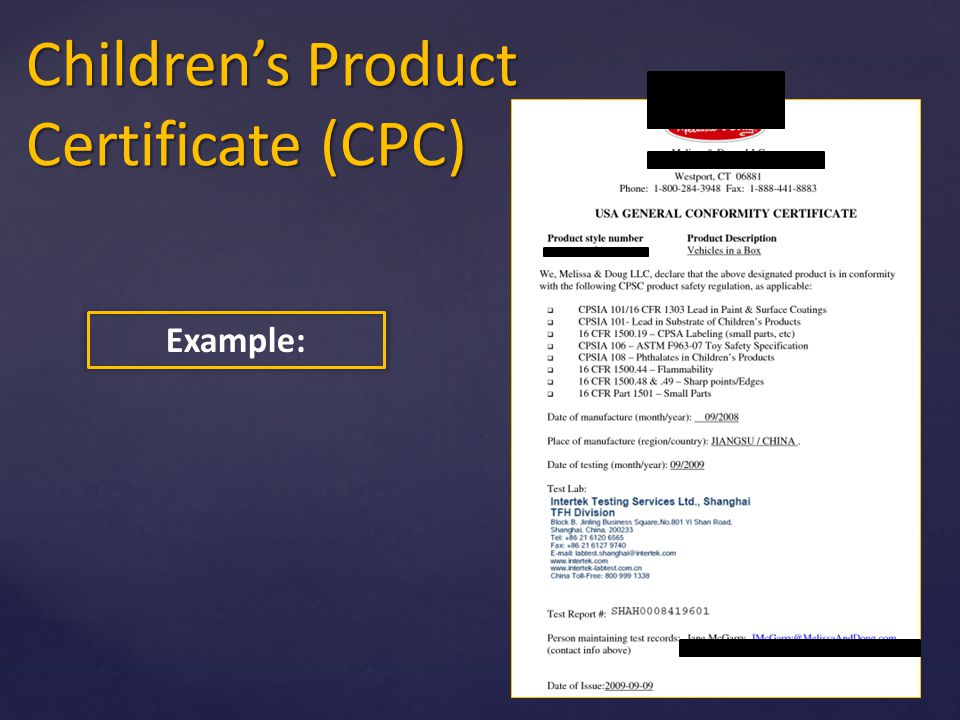 Cpsia Certificate Of Conformity Sample Image Collections