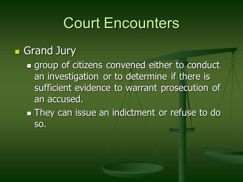 Court Encounters Grand Jury