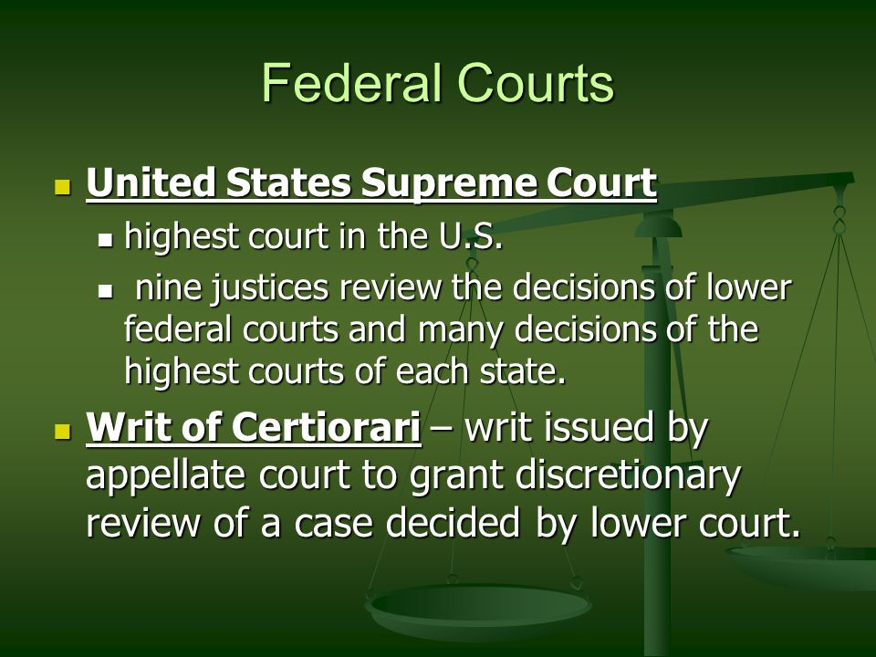 Federal Courts United States Supreme Court