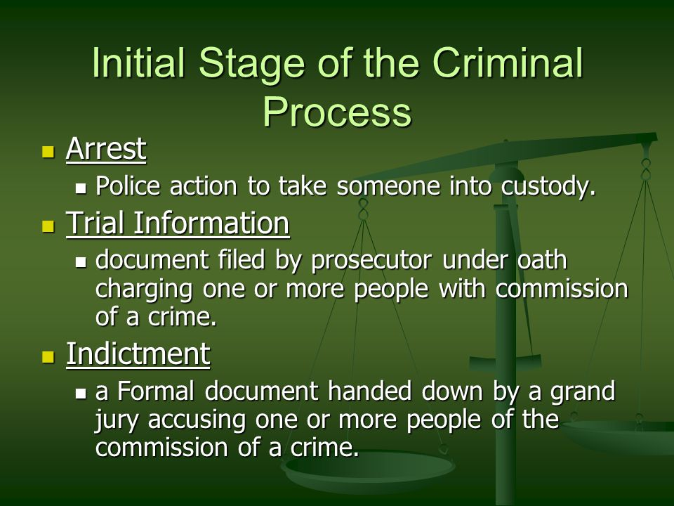 Initial Stage of the Criminal Process