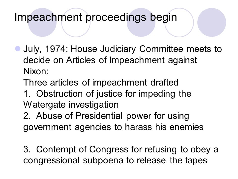 statement on the impeachment of richard Free richard nixon papers, essays, and richard nixon - richard milhouse nixon was a very prominent the impeachment of richard nixon and bill clinton.