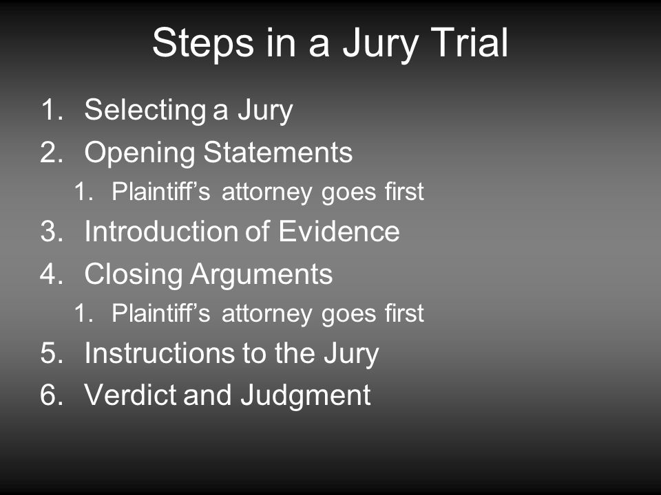 Steps in a Jury Trial Selecting a Jury Opening Statements