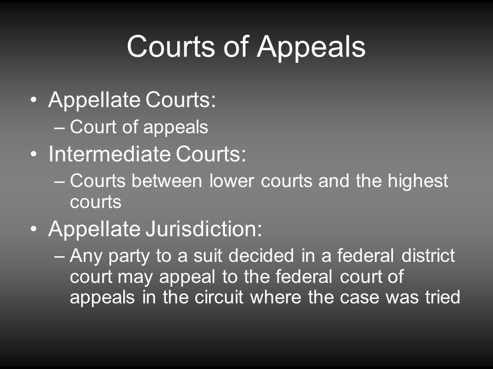 Courts of Appeals Appellate Courts: Intermediate Courts: