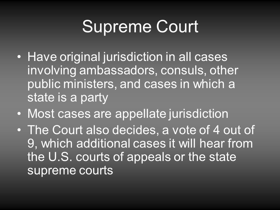 Supreme Court Have original jurisdiction in all cases involving ambassadors, consuls, other public ministers, and cases in which a state is a party.