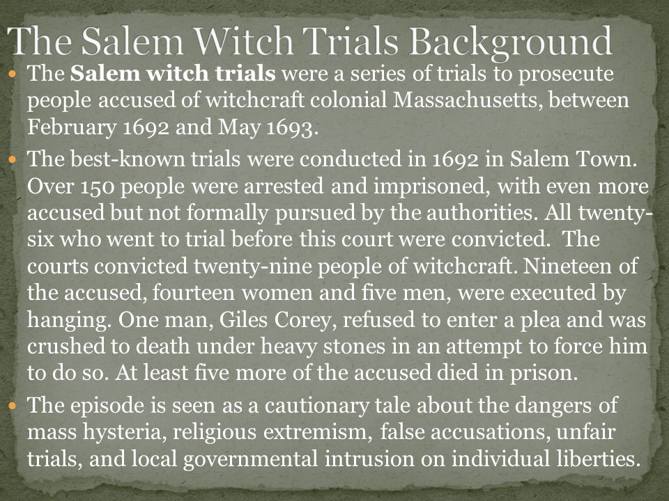 salem witch trials and puritan community The various documents and books about the salem witch trials over the  the community, tituba had nothing  witch of salem: devilish indians and puritan.