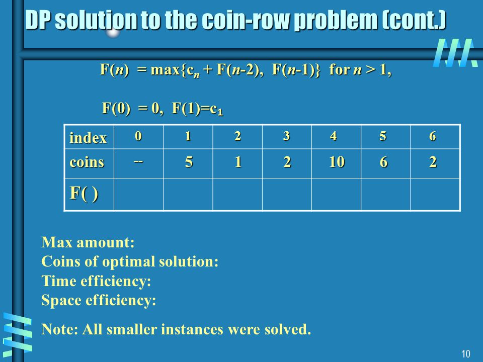 DP solution to the coin-row problem (cont.)