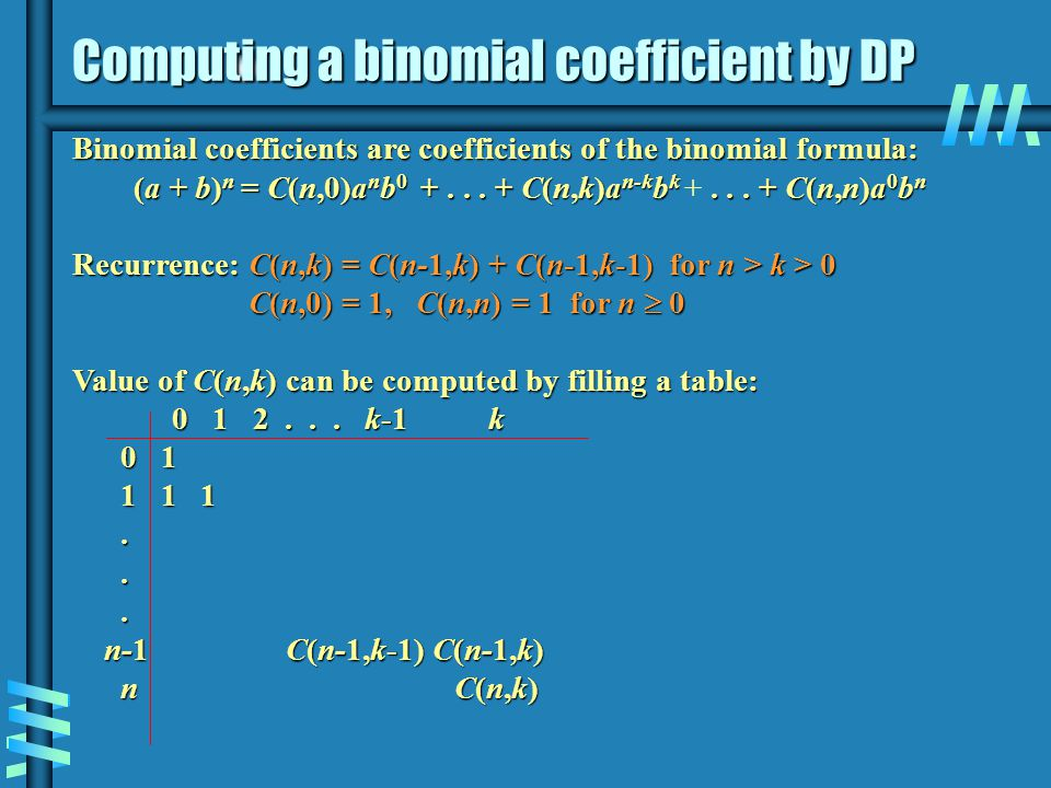 Computing a binomial coefficient by DP