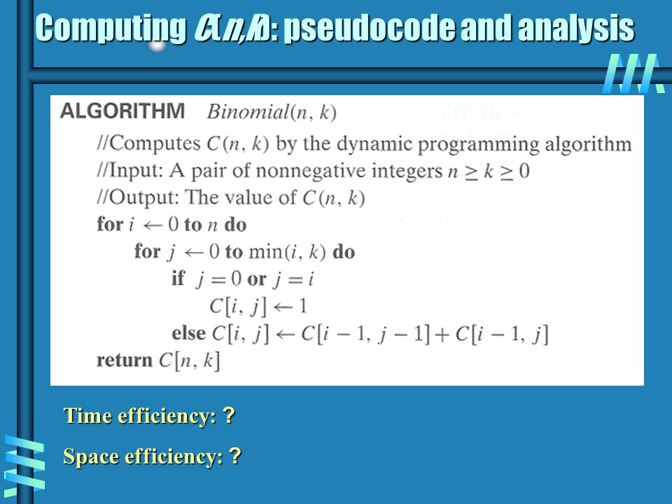 Computing C(n,k): pseudocode and analysis
