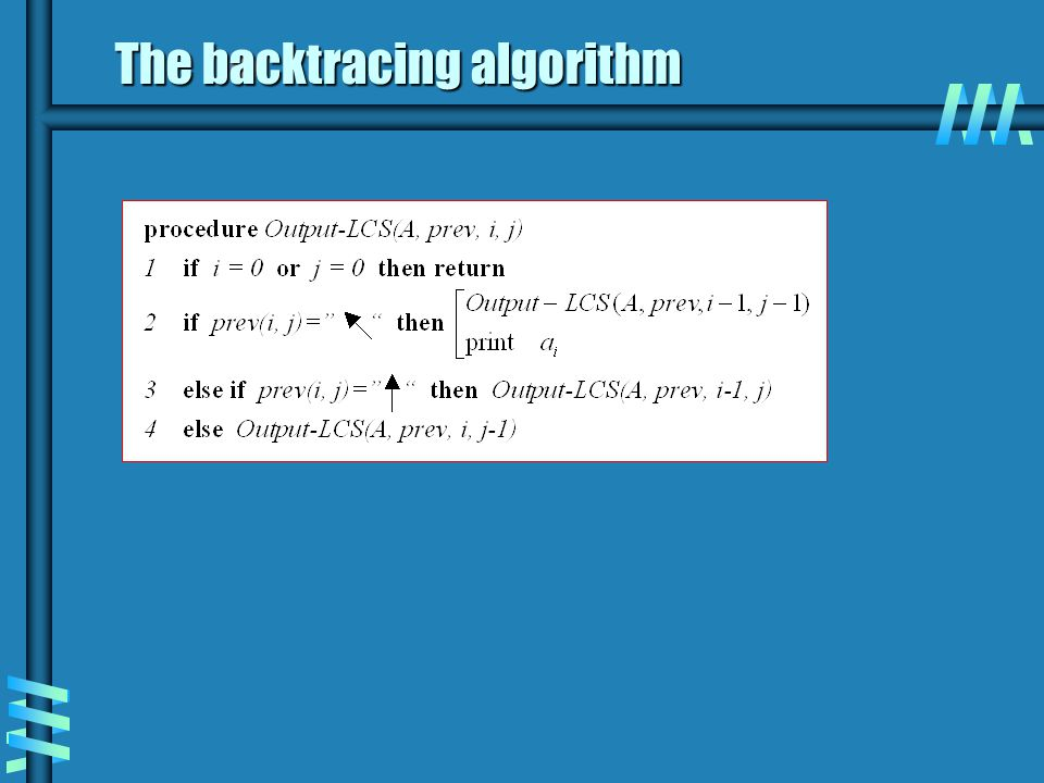 The backtracing algorithm