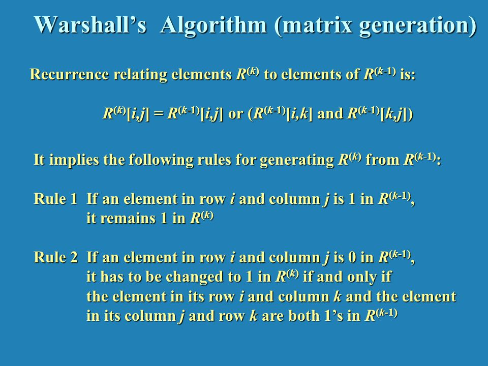 Warshall's Algorithm (example)