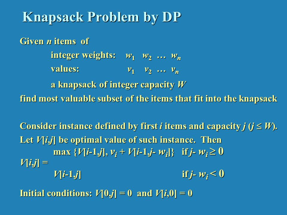 Knapsack Problem by DP (example)
