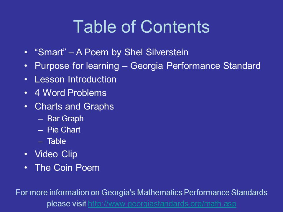 Table of Contents Smart – A Poem by Shel Silverstein