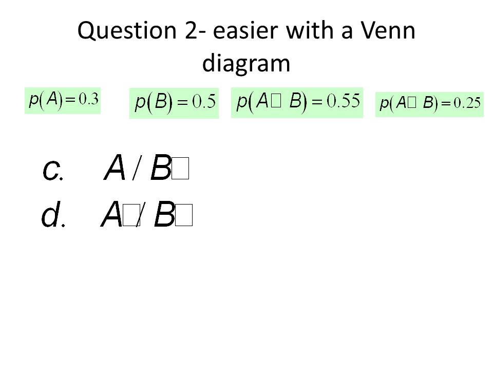 Question 2- easier with a Venn diagram