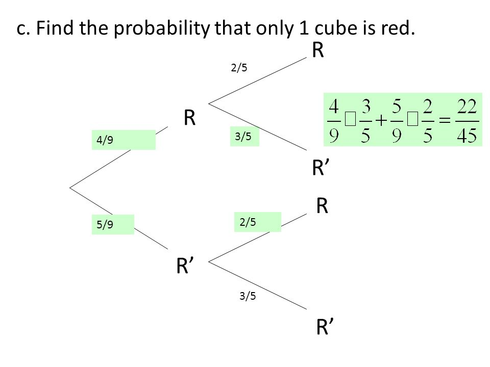 R R R' R R' R' c. Find the probability that only 1 cube is red. 2/5