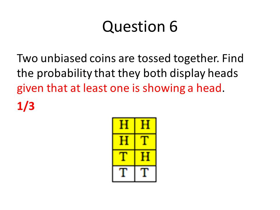 Question 6 Two unbiased coins are tossed together.