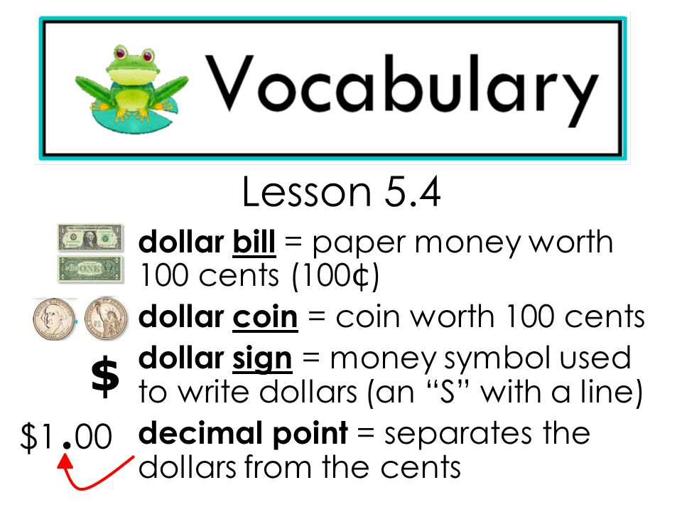 $ Lesson 5.4 $1.00 dollar bill = paper money worth 100 cents (100¢)