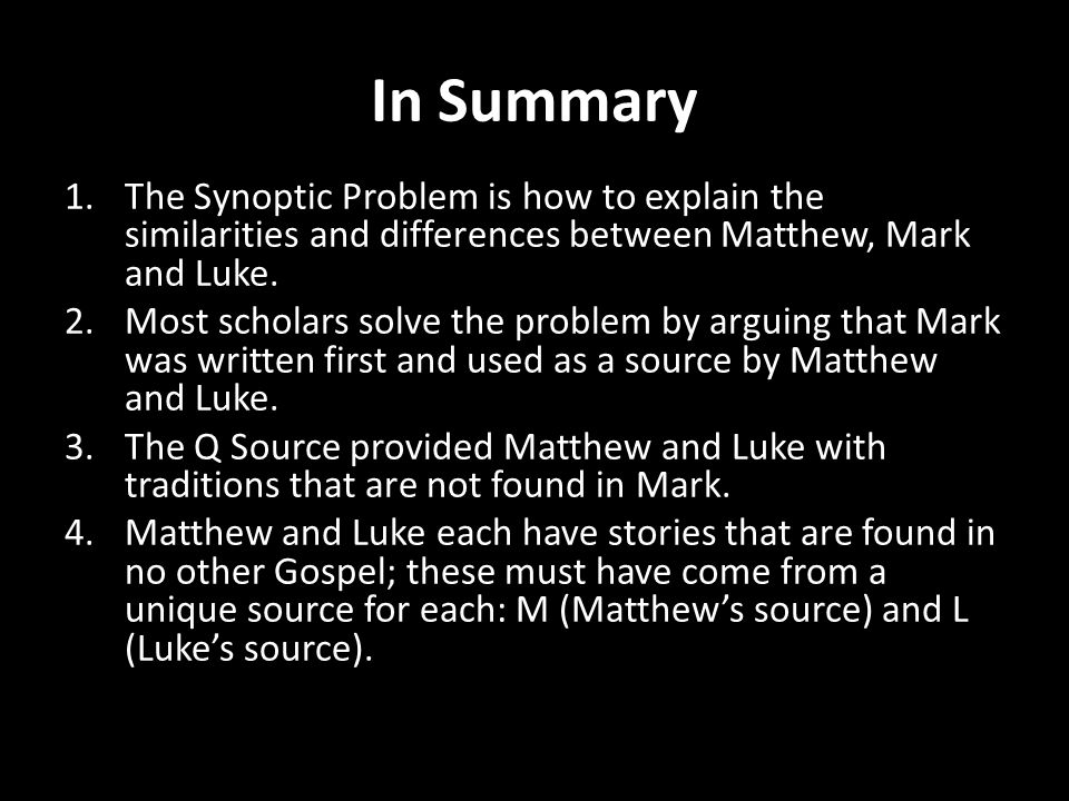 the synoptic problem a brief overview An understanding of the sermon on the mount for african ecclesiology by emmanuel oyemomi, phd this paper seeks an overview of the background history of the it should be noted that the brief historical survey reveals several attempted solutions in resolving critical and ethical.