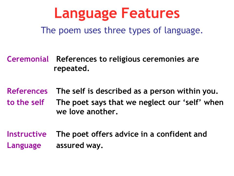 The poem uses three types of language.