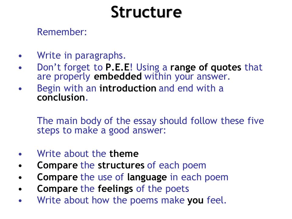 Structure Remember: Write in paragraphs.