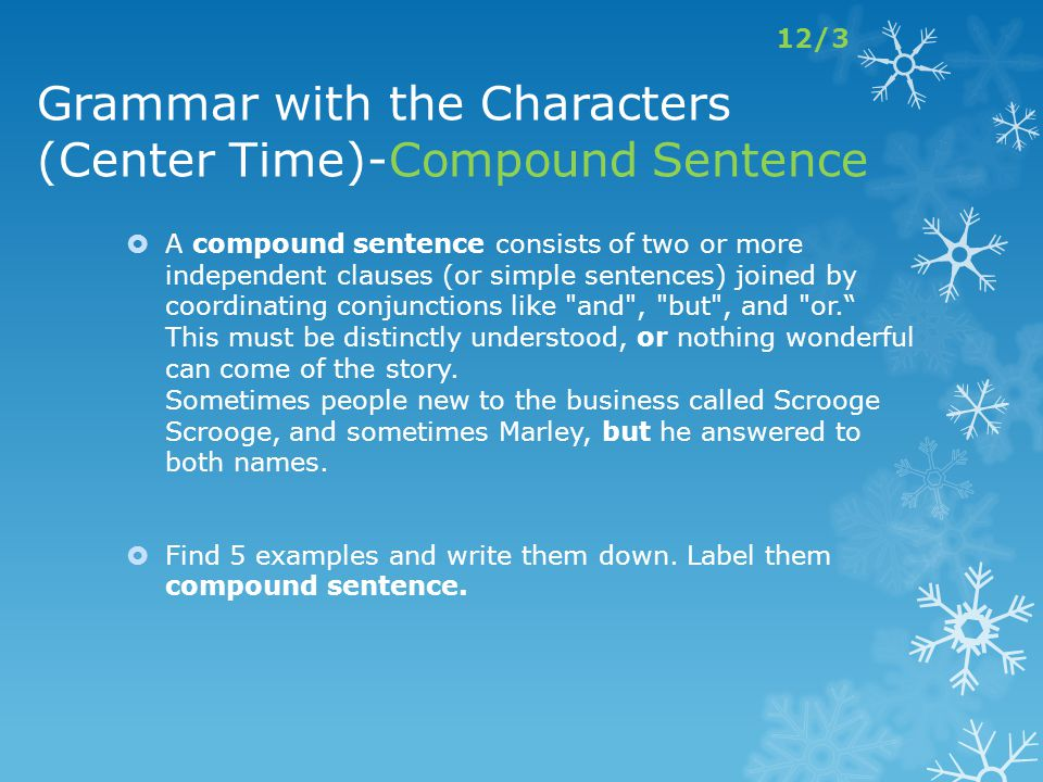 Grammar with the Characters (Center Time)-Compound Sentence