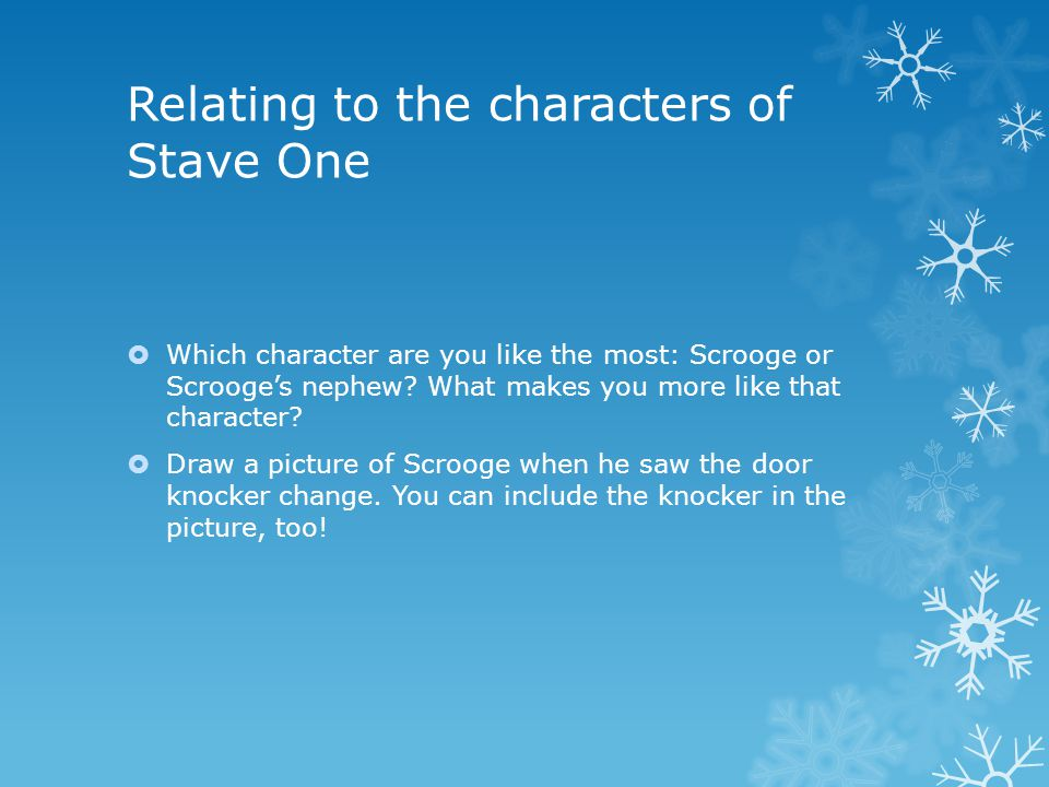 Relating to the characters of Stave One