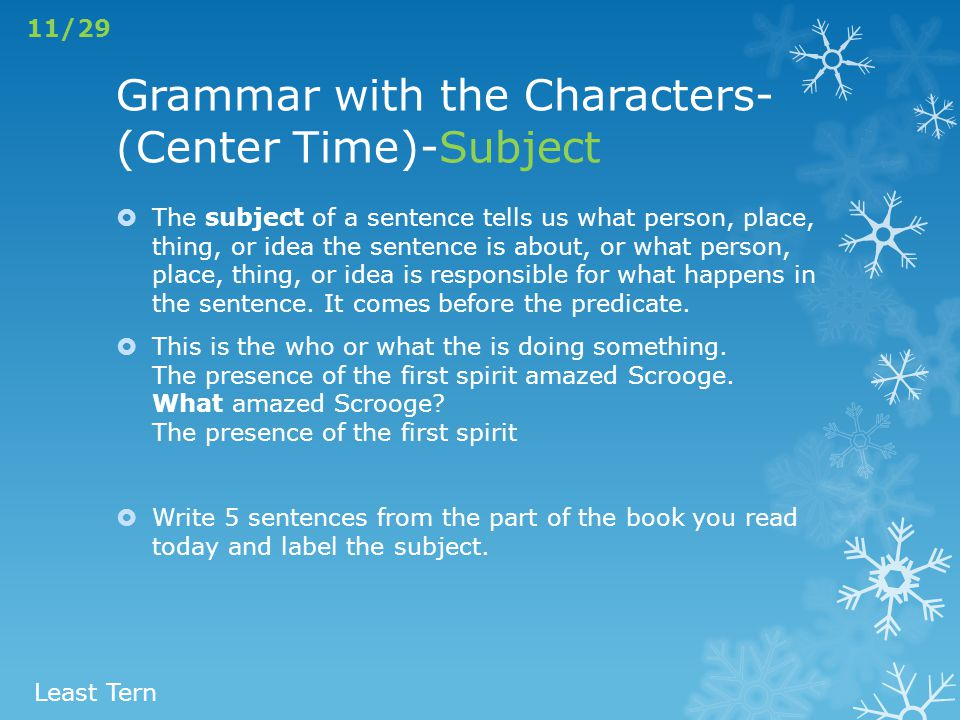Grammar with the Characters-(Center Time)-Subject