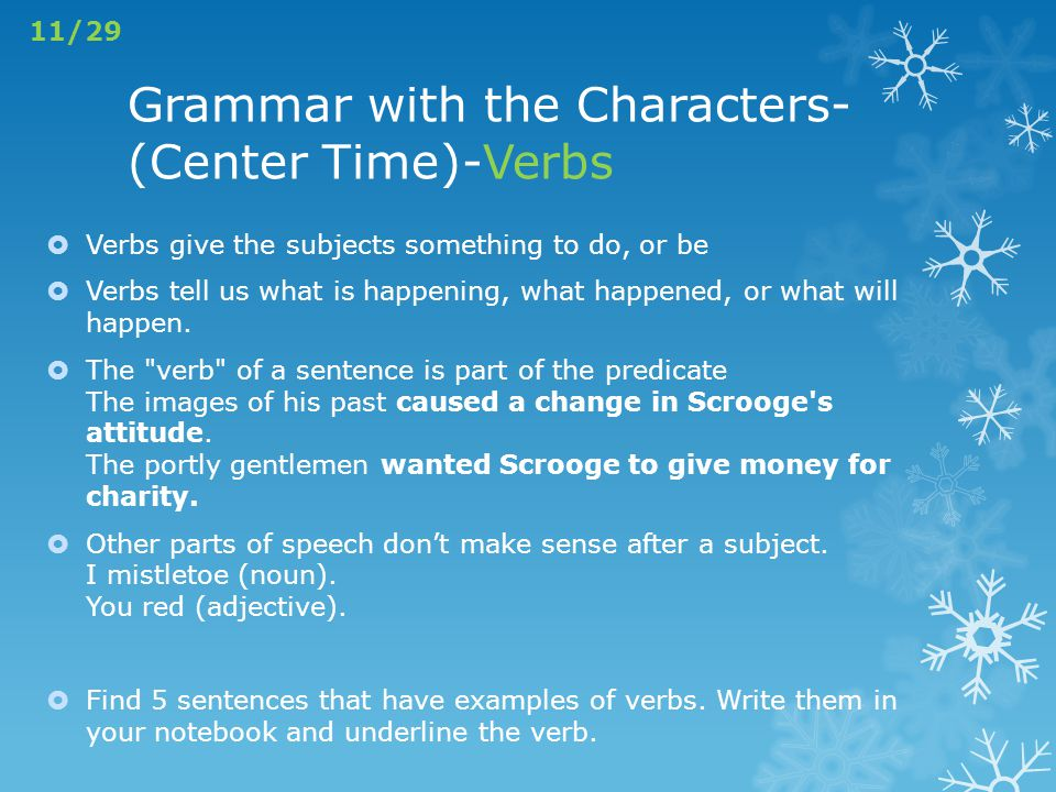 Grammar with the Characters- (Center Time)-Verbs