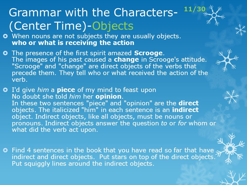 Grammar with the Characters- (Center Time)-Objects