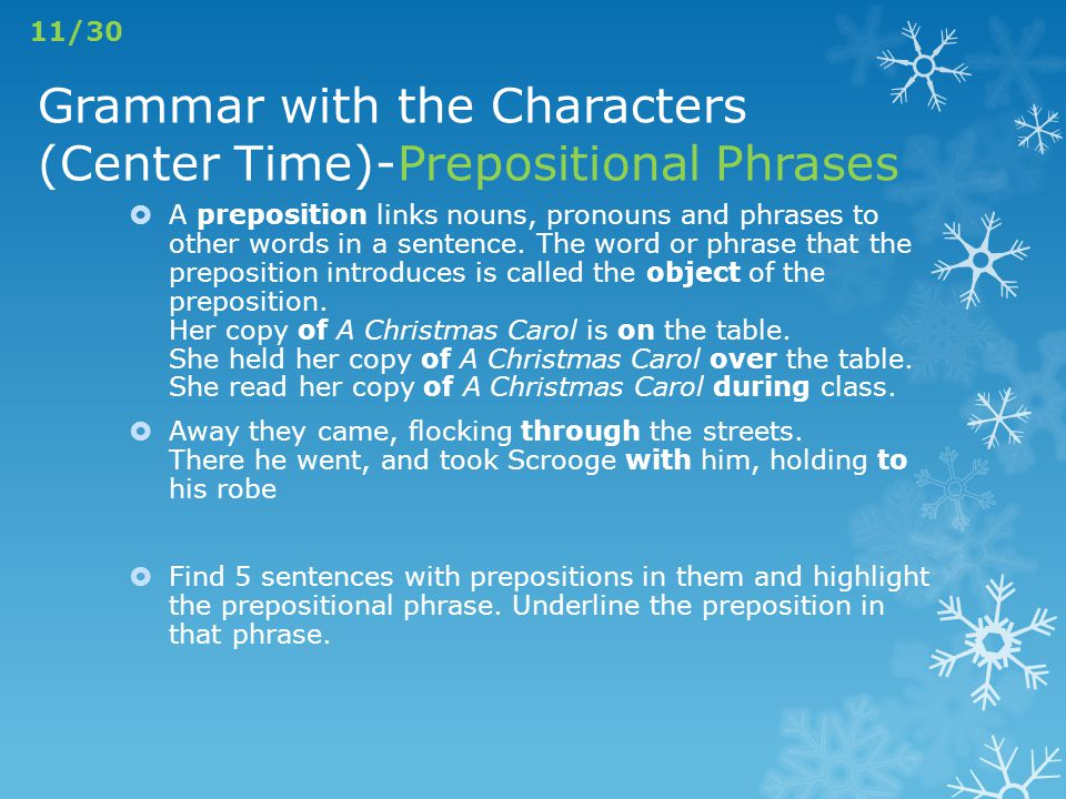 Grammar with the Characters (Center Time)-Prepositional Phrases