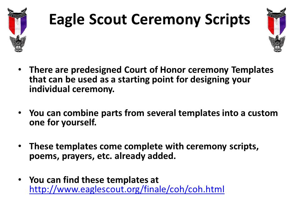 Eagle court of honor presenters council advancement chair for Eagle scout court of honor program template
