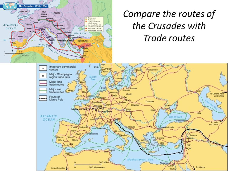 Compare the routes of the Crusades with Trade routes