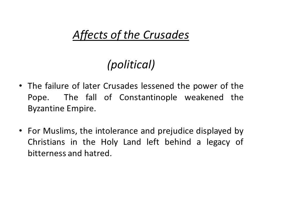 Affects of the Crusades