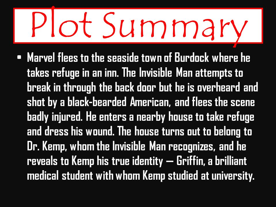invisible man plot summary An analysis and synopsis of the invisible man by ralph ellison pages 3 words 1,492 view full essay more essays like this: invisible man, ralph ellison, the brothers.