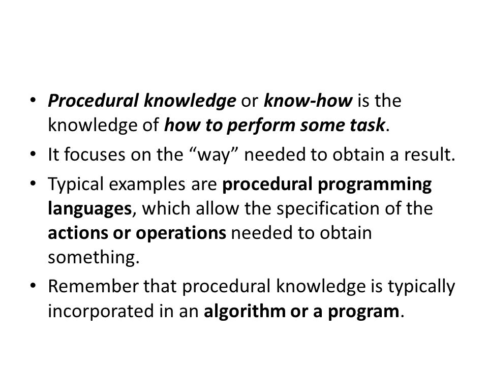 Procedural Knowledge Ppt Download