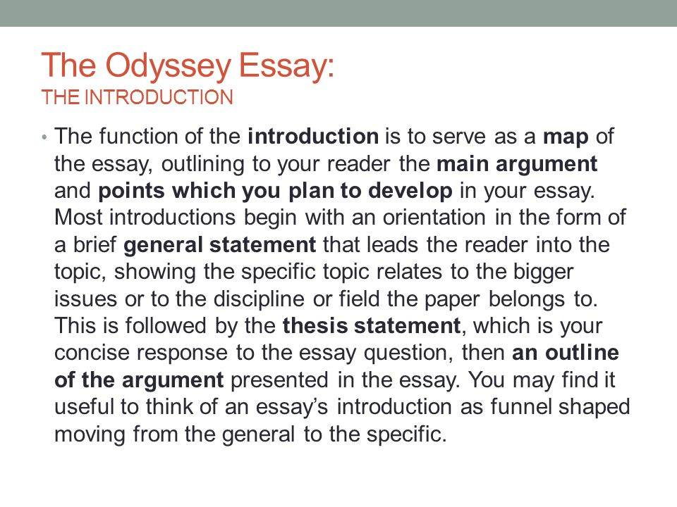 Essay For Health The Odyssey Essay The Introduction College Essay Paper Format also How To Start A Proposal Essay The Odyssey Essay The Introduction  Ppt Video Online Download Health Essay Example