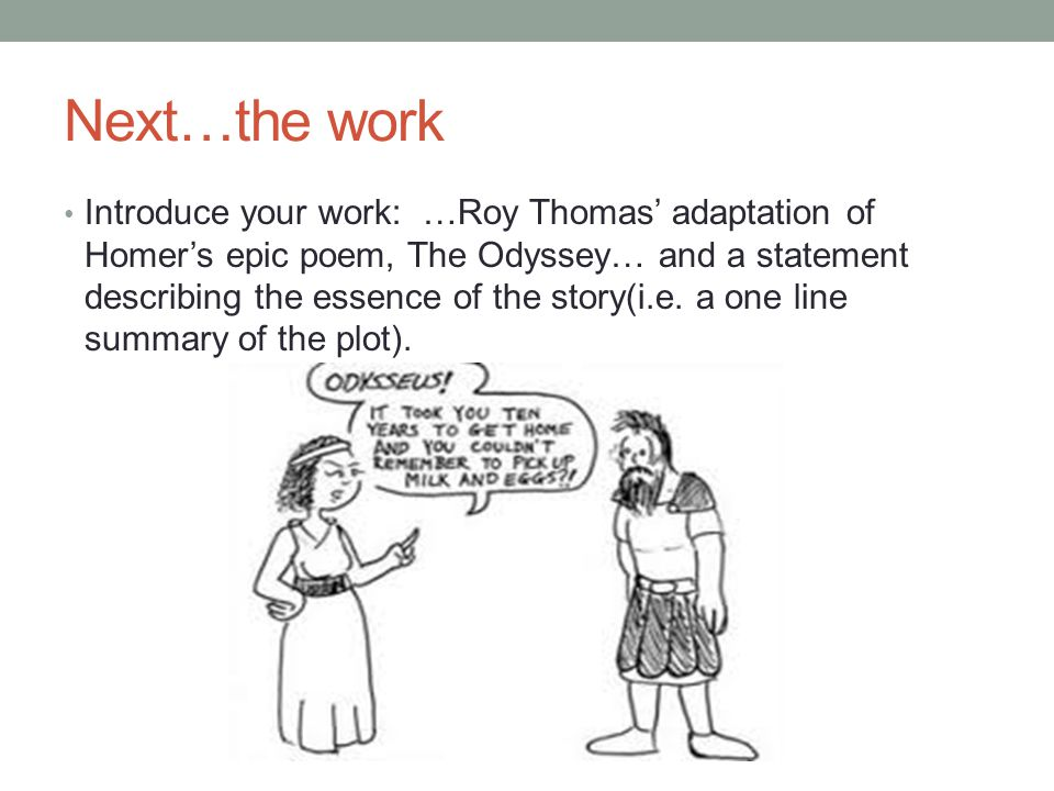 the odyssey essay the introduction ppt video online  next the work