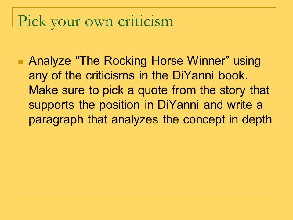 "an analysis of dh lawrences story the rocking horse winner ""the rocking-horse winner"" – dh lawrence how is the story similar to a fairy tale or a parable adding the ""so what"" element in literary analysis."