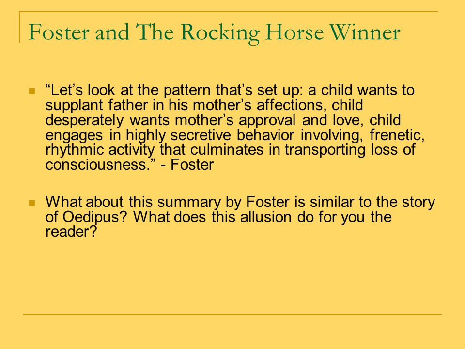 the rocking horse winner ppt video online  foster and the rocking horse winner