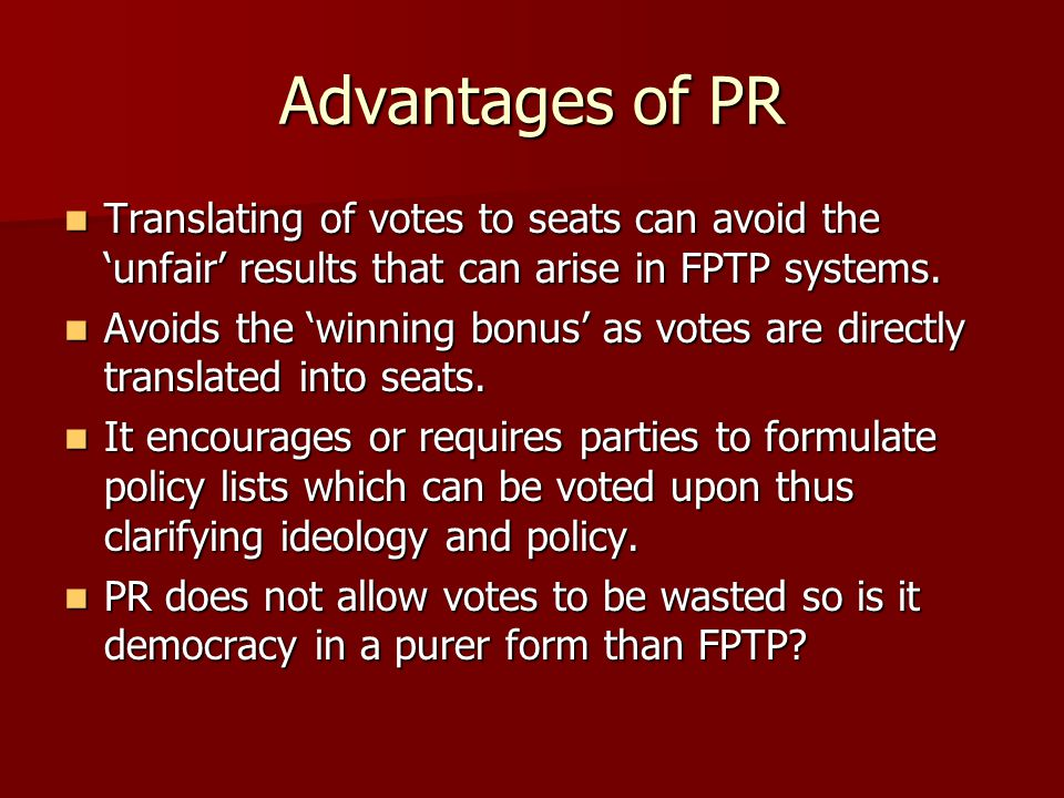 advantages and disadvantages of fptp system Fptp,stv and ams disadvantages  some people find the system a bit confusing and worry they will make a mistake  first past the post, ams and stv advantages.
