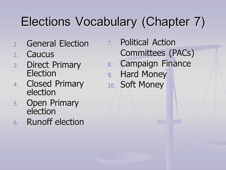 Elections Vocabulary (Chapter 7)