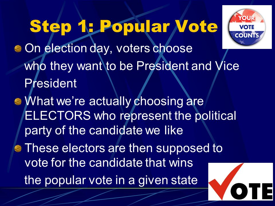 Step 1: Popular Vote On election day, voters choose