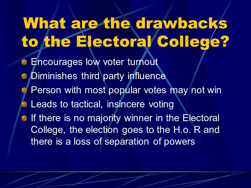 What are the drawbacks to the Electoral College