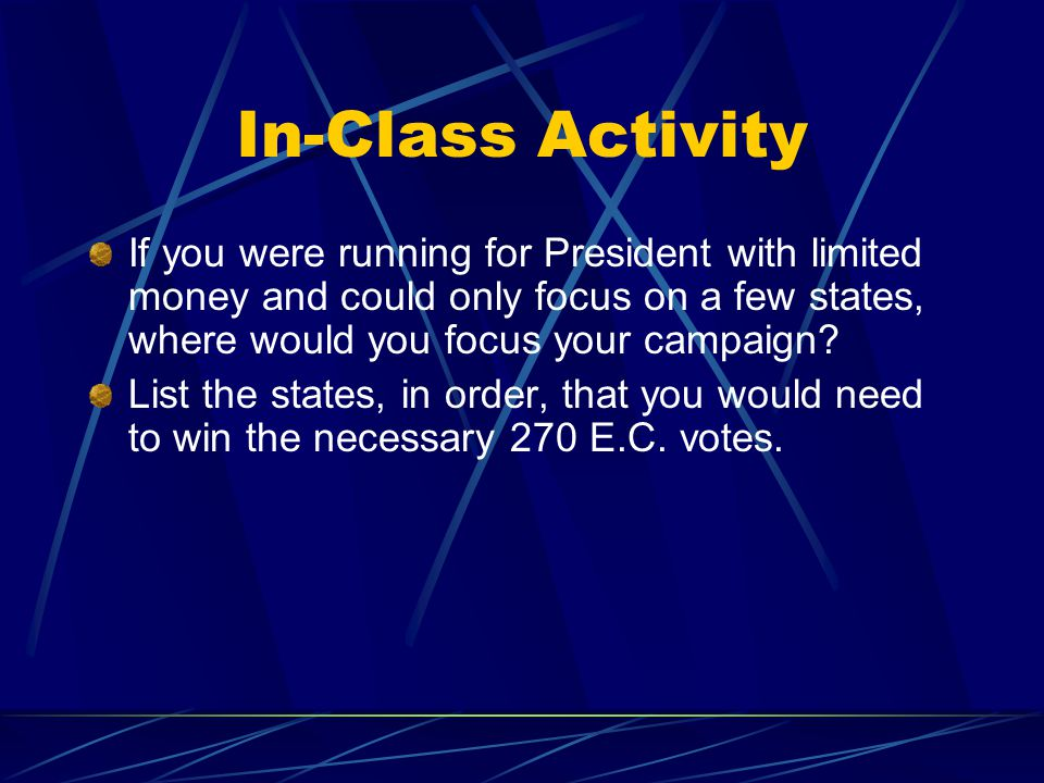 In-Class Activity If you were running for President with limited money and could only focus on a few states, where would you focus your campaign