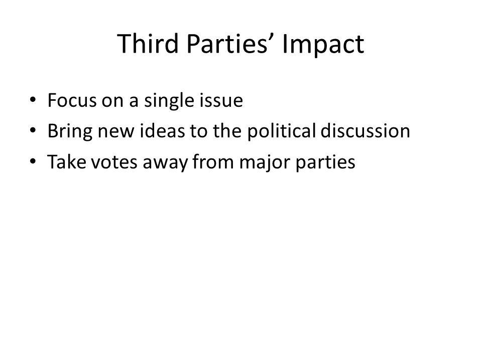 an analysis of the effect of third party candidates in presidential elections What if a third party candidate wins a large percentage of the popular vote  all presidential elections feature candidates on the ballot from parties  more  often than not, these candidates have no impact on the results  you may or  may not believe in that analysis or even the underlying assumptions.
