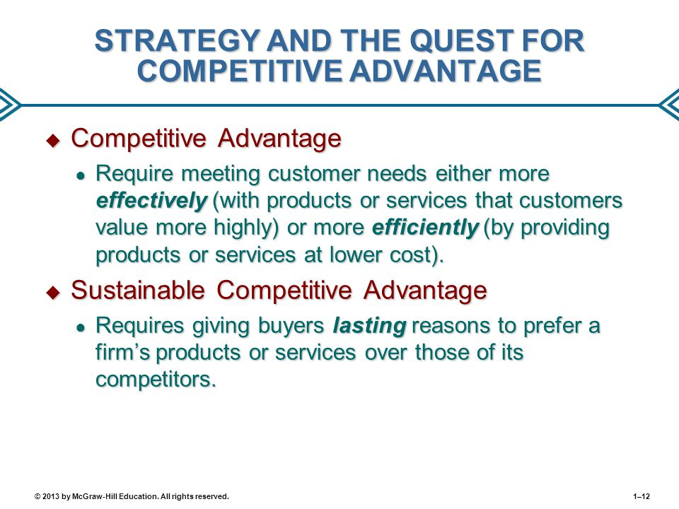 STRATEGY AND THE QUEST FOR COMPETITIVE ADVANTAGE