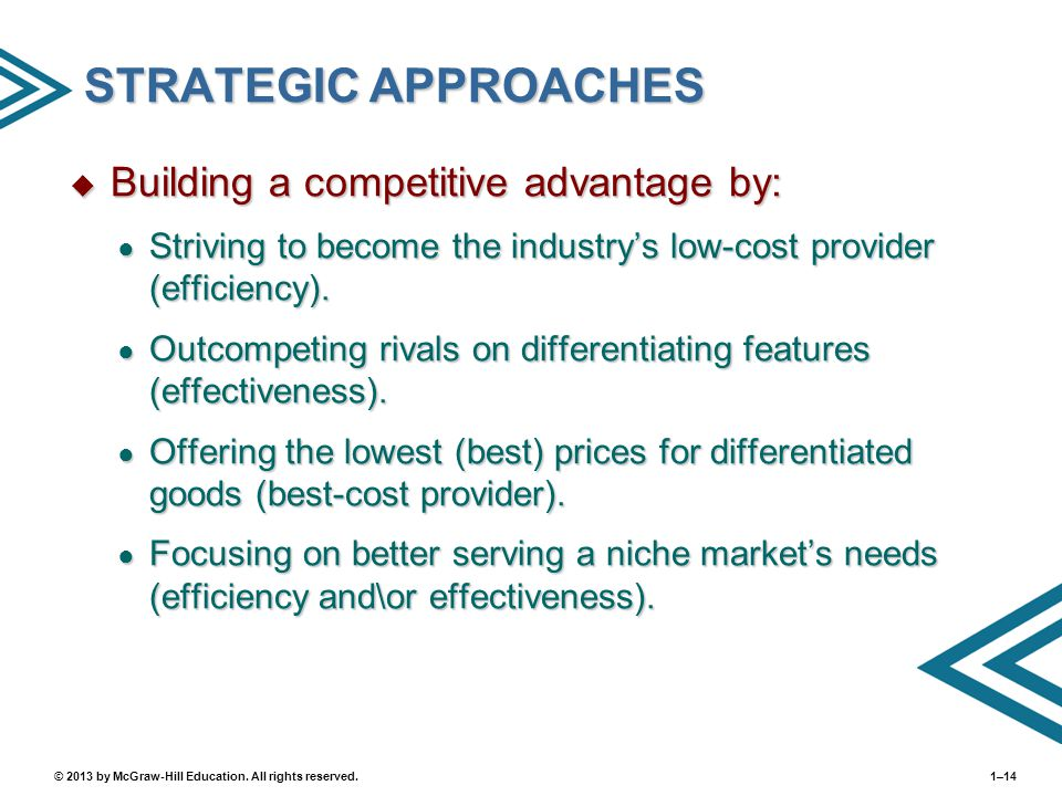 STRATEGIC APPROACHES Building a competitive advantage by: