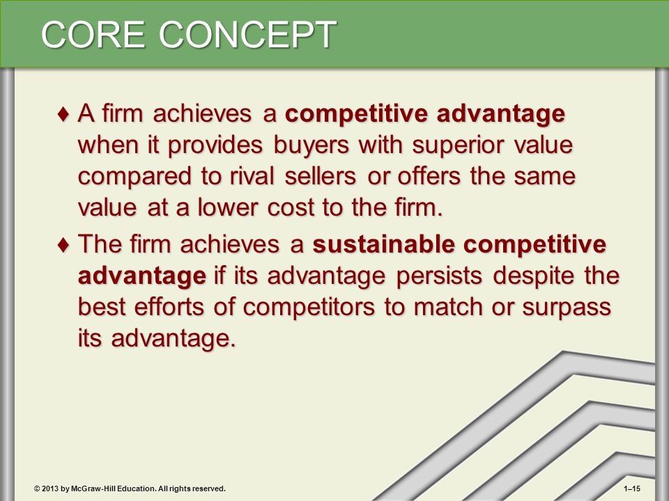 A firm achieves a competitive advantage when it provides buyers with superior value compared to rival sellers or offers the same value at a lower cost to the firm.