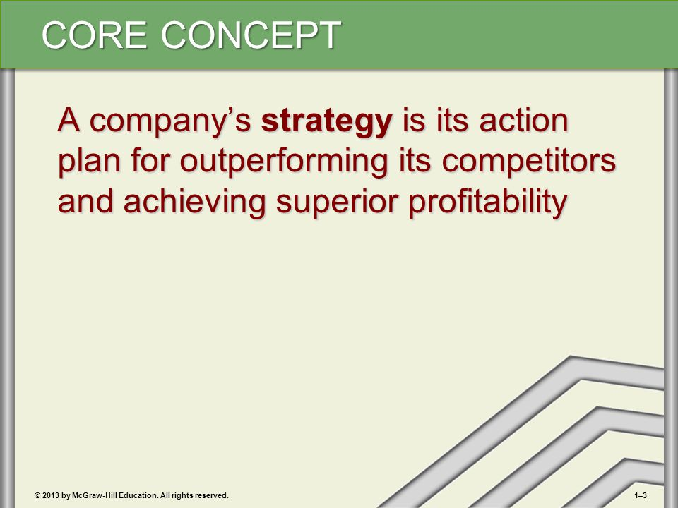 A company's strategy is its action plan for outperforming its competitors and achieving superior profitability