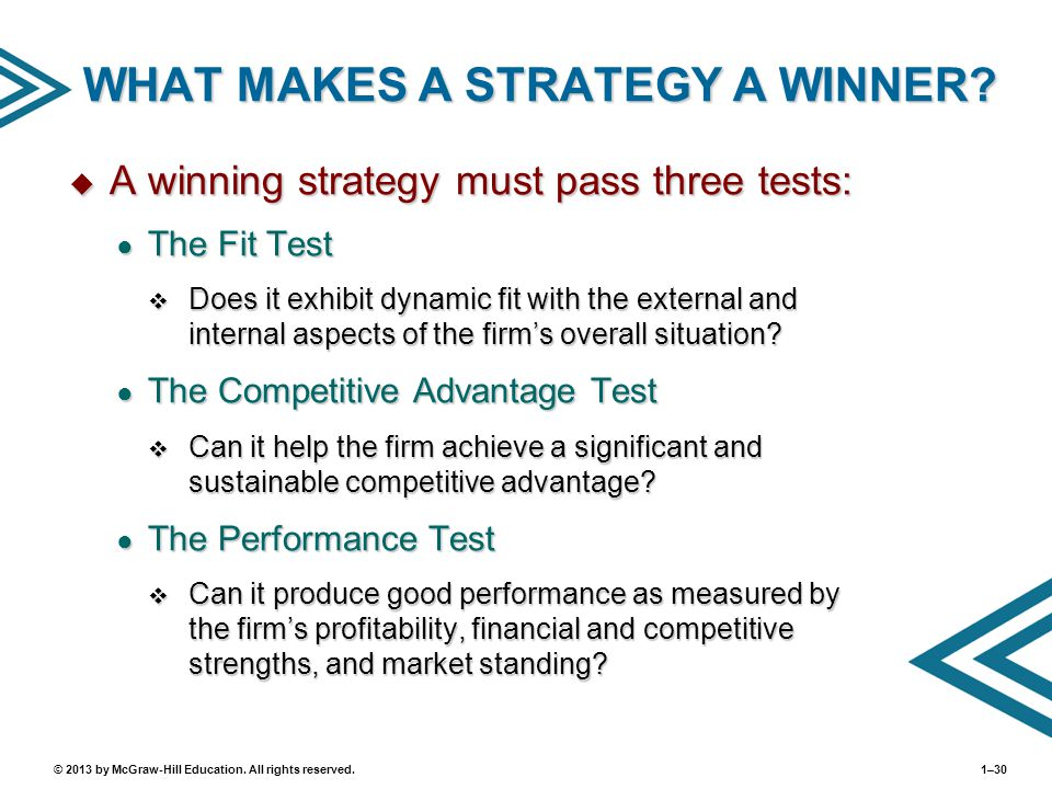 WHAT MAKES A STRATEGY A WINNER